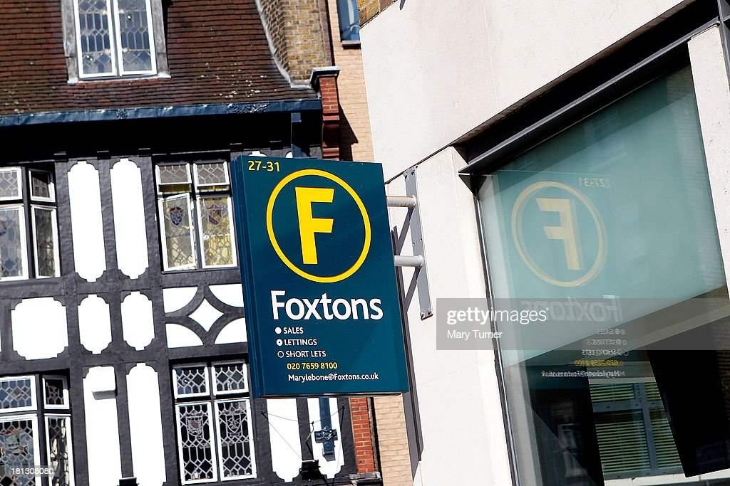 A sign at Foxtons Estate Agents in Marylebone on September 20, 2013 in London, England. Foxtons has been valued at £649 million ahead of its full stock market listing. Shares in the company were priced at GBP 2.30 each.