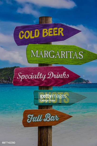 A sign at Jimmy Buffett's Margaritaville restaurant in The Linq Promendade shopping and entertainment mall located near the High Roller and Brooklyn...