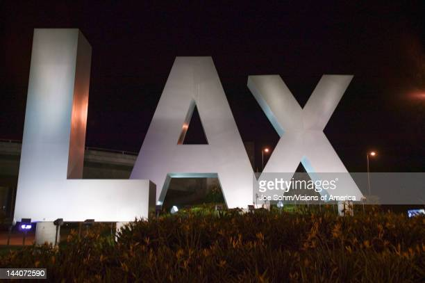 LAX sign at night welcoming travelers to Los Angeles International Airport Los Angeles CA