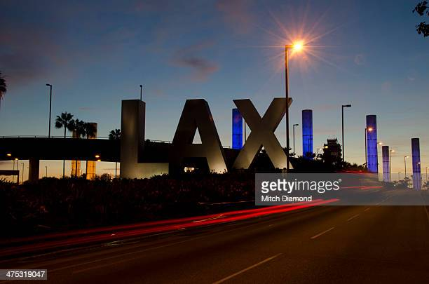 LAX sign at sunset
