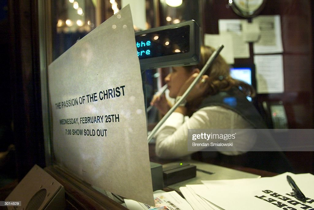 A sign at the box office at the Avalon Theater notifies moviegoers that the current showing of the premiere of Mel Gibson's 'The Passion of the Christ' is sold out February 25, 2004 in Washington, DC.