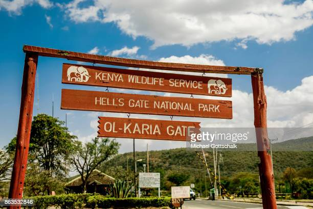 A sign at the entrance gate to Hell´s Gate National Park on October 08 2017 in Olkaria Kenya