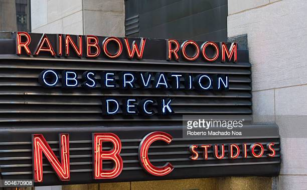 Sign at the entrance of Rainbow Room Top of the Rock Observation Deck and NBC studios All located in the Rockefeller Center