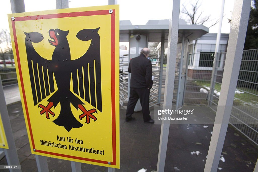 Sign at the entrance of the headquater of the German Military Counter-Intelligence Service (MAD) on February 6, 2013 in Cologne, Germany. Defense Minister Thomas de Maiziere has rejected calls to shut down the Counter-Intelligence Agency despite fierce criticism from Ministers, following an investigation carried out by the Bundestag, for withholding information surrounding their recruitment of the NSU neo-Nazi terrorist Uwe Mundlos.