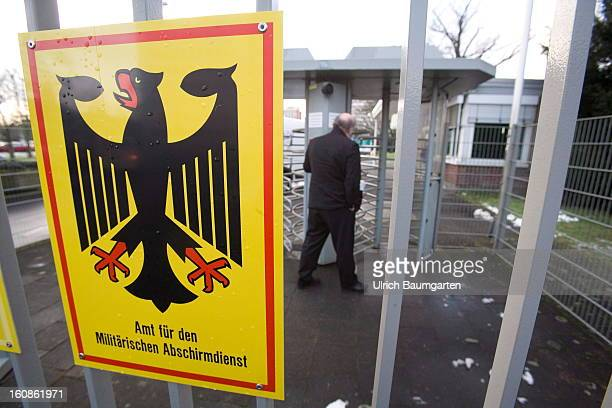 Sign at the entrance of the headquater of the German Military CounterIntelligence Service on February 6 2013 in Cologne Germany Defense Minister...