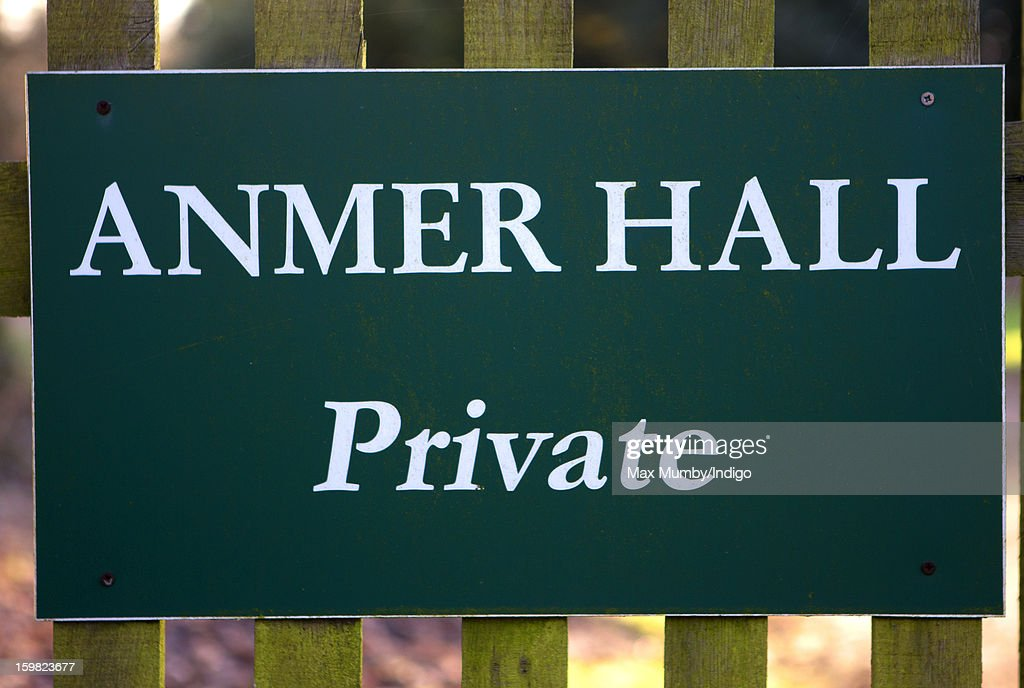 A sign at the entrance to Anmer Hall on the Sandringham Estate on January 13, 2013 in King's Lynn, England. It has been reported that Queen Elizabeth II is to give Anmer Hall to Prince William, Duke of Cambridge and Catherine, Duchess of Cambridge to be their country house.