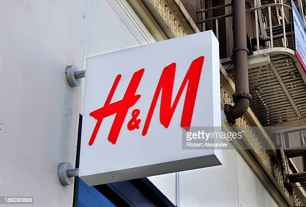 A sign at the entrance to the HM clothing store in San Francisco's Union Square shopping district on October 4 2013 in San Francisco California