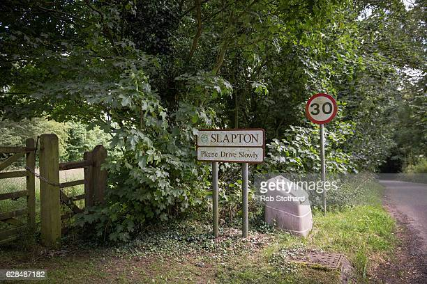 A sign at the entrance to the Northamptonshire village of Slapton on July 10 2016 in Slapton England South Northamptonshire is a constituency in...