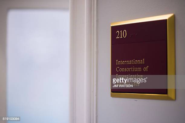 A sign at the offices of the International Consortium of Investigative Journalists in Washington DC April 4 2016 The International Consortium of...