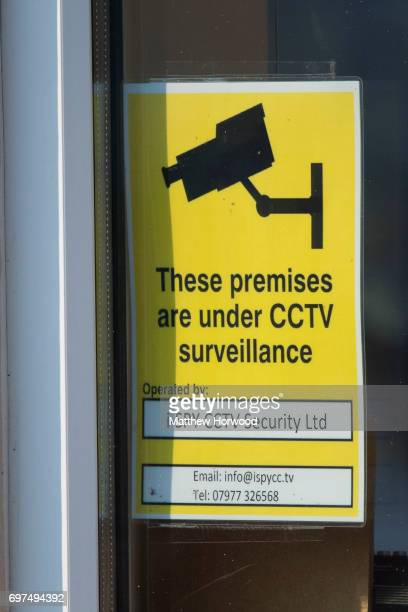 CCTV sign at the site of Pontyclun Van Hire at the East Side Cambrian Industrial Estate on June 19 2017 in Pontyclun Wales A van that appears to have...