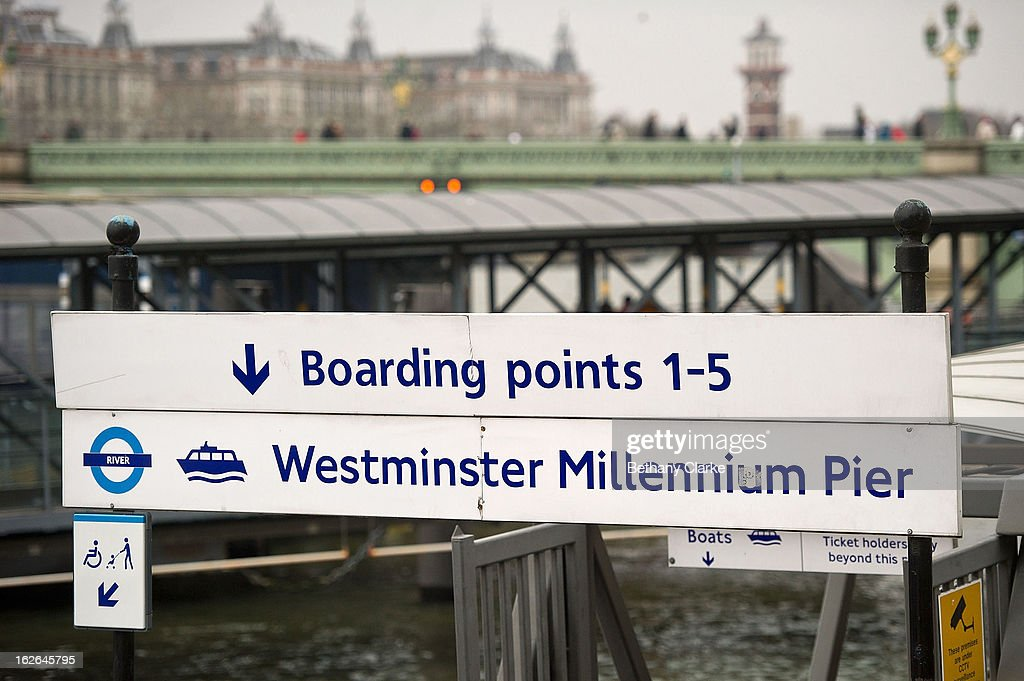 A sign at Westminster Millennium Pier on February 25, 2013 in London, England. A £10 million boost to double the number of commuters travelling on the Thames over the next seven years was announced by Transport for London today.