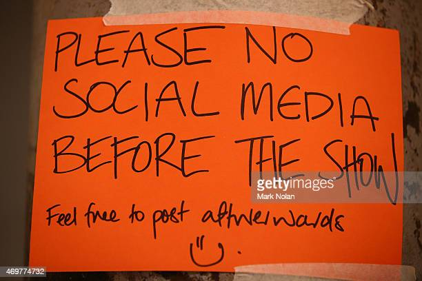 A sign backstage which reads 'Please no social media before the show' is seen ahead of the Galanni show at MercedesBenz Fashion Week Australia 2015...