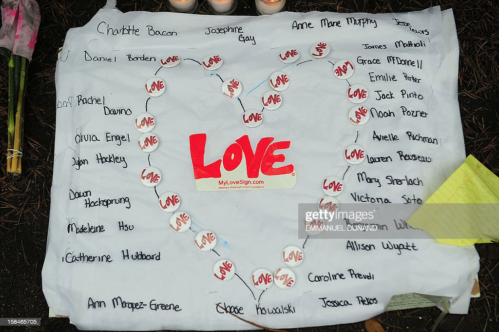 A sign bears the names of the victims of the December 14, 2012 elementary school shooting at a makeshift shrine to the victims in Newtown, Connecticut, December 17, 2012. Funerals began Monday in the little Connecticut town of Newtown after the school massacre that took the lives of 20 small children and six staff, triggering new momentum for a change to America's gun culture. The first burials, held under raw, wet skies, were for two six-year-old boys who were among those shot in Sandy Hook Elementary School. On Tuesday, the first of the girls, also aged six, was due to be laid to rest. There were no Monday classes at all across Newtown, and the blood-soaked elementary school was to remain a closed crime scene indefinitely, authorities said. AFP PHOTO/Emmanuel DUNAND