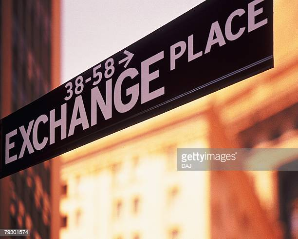 Sign board for stock exchange, CG, composition, low angle view