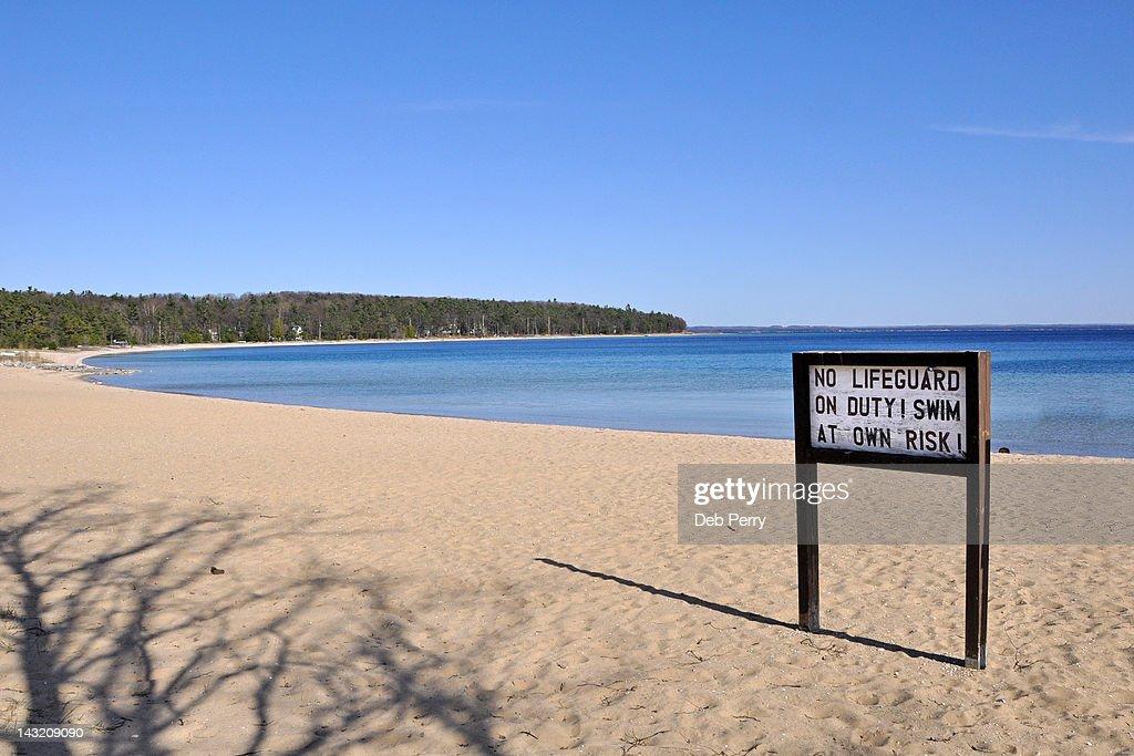 Sign board on beach