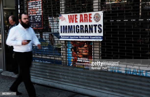 A sign celebrates immigrants along Coney Island Avenue on October 18 2017 in New York City Coney Island Avenue a road that runs northsouth for a...