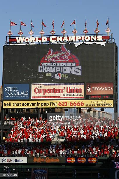 A sign denoting the St Louis Cardinals 2006 World Championship is unveiled before their Opening Day game against the New York Mets on April 1 2007 at...
