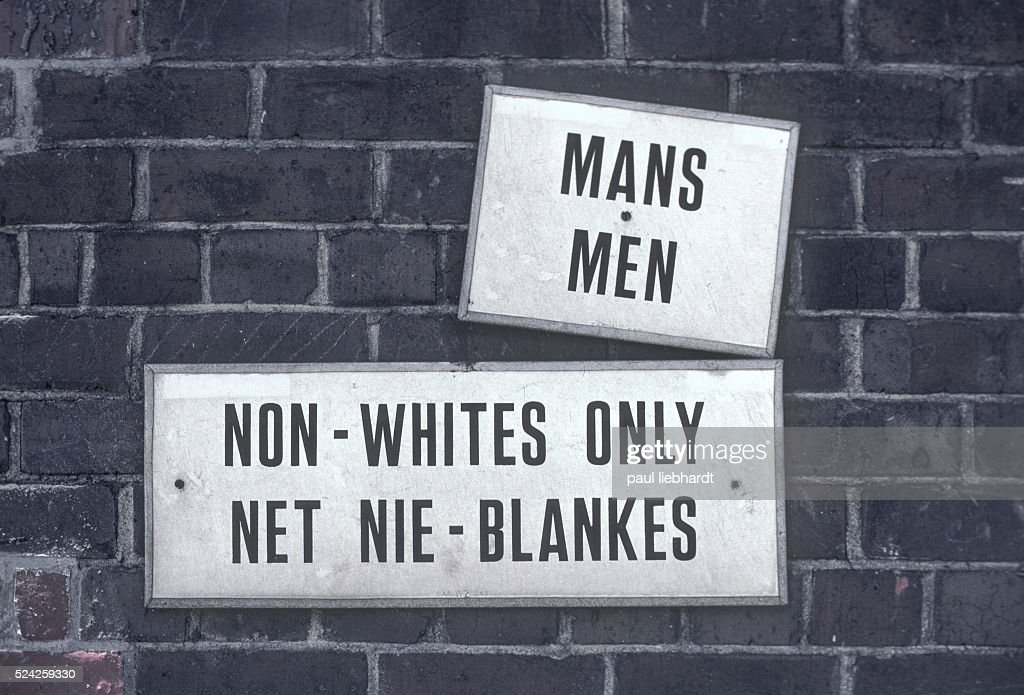 Sign designating a men's room for blacks only in Capetown South Africa during Aparthied in 1978