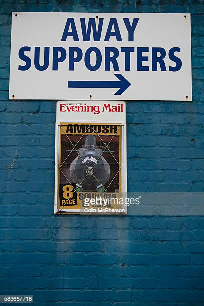 A sign directing visiting supporters on Holker Street at Barrow AFC's Furness Building Society Stadium prior to the delayed kickoff of the Barrow v...