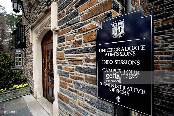 A sign directs visitors at the undergraduate admissions office on the Duke University campus in Durham North Carolina US on Friday March 26 2010 Duke...