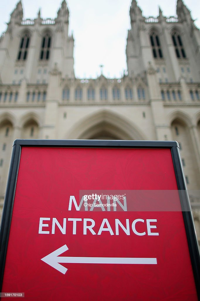 A sign directs visitors to the entrance of the Washington National Cathedral January 9, 2013 in Washington, DC. The National Cathedral is one of the world's largest cathedrals and the seat of the Episcopal Church. It will also host of the official prayer service for the presidential inauguration later this month. The Cathedral announced it will host same-sex weddings.