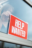 """""""HELP WANTED"""" Sign Displayed for Recruitment, Hiring, Employment in Retail"""
