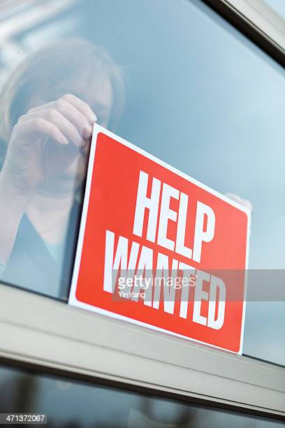 """HELP WANTED"" Sign Displayed for Recruitment, Hiring, Employment in Retail"
