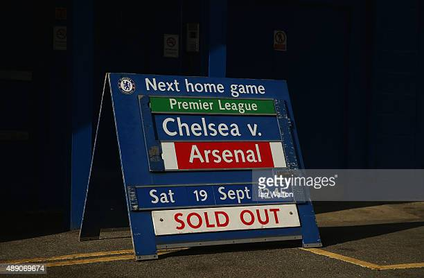 A sign displays that all tickets are sold out prior to the Barclays Premier League match between Chelsea and Arsenal at Stamford Bridge on September...