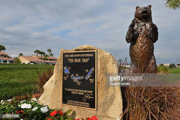 A sign displays the Bear Trap during the first round of The Honda Classic at PGA National Resort and Spa on February 27 2014 in Palm Beach Gardens...