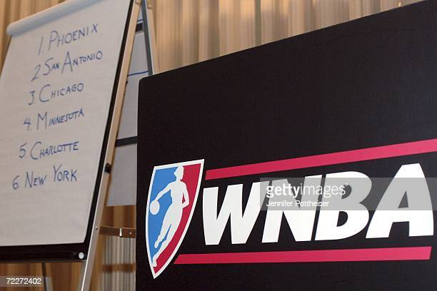 A sign displays the first six picks in the 2007 WNBA draft after the 2007 WNBA Draft Lottery on October 26 2006 in New York City NOTE TO USER User...
