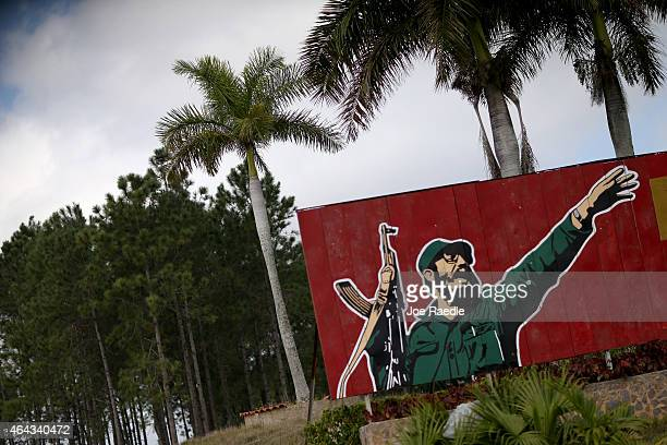 A sign features Cuban revolutionary leader Fidel Castro on February 24 2015 in Pinar del Rio Cuba The recent thaw in USCuba relations has increased...