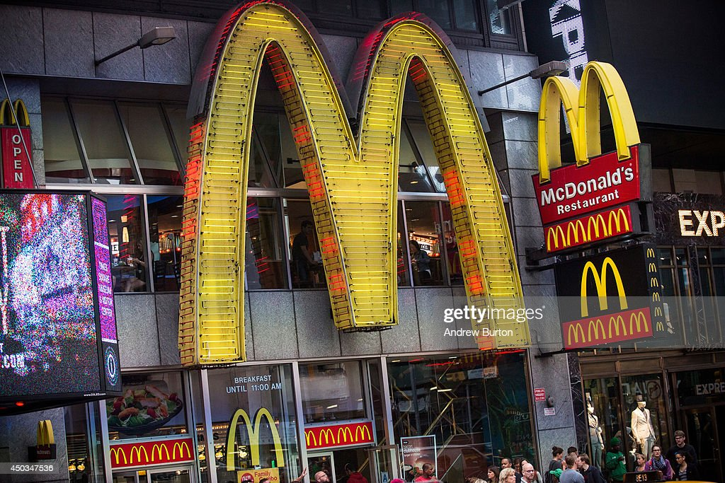A sign for a McDonald's restaurant is seen in Times Square on June 9, 2014 in New York City. McDonald's domestic sales fell slightly in May, marking one of the longest streches without U.S. growth.