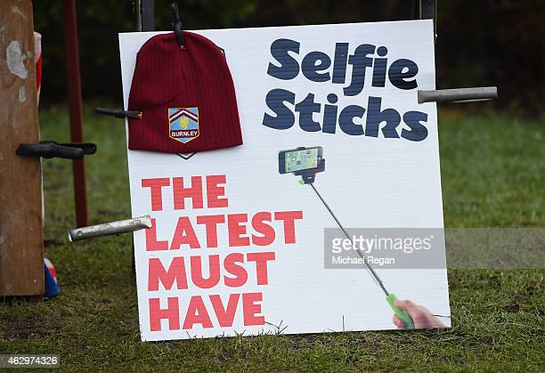 A sign for a 'selfie stick' is seen near a merchandise stall ahead of the Barclays Premier League match between Burnley and West Bromwich Albion at...