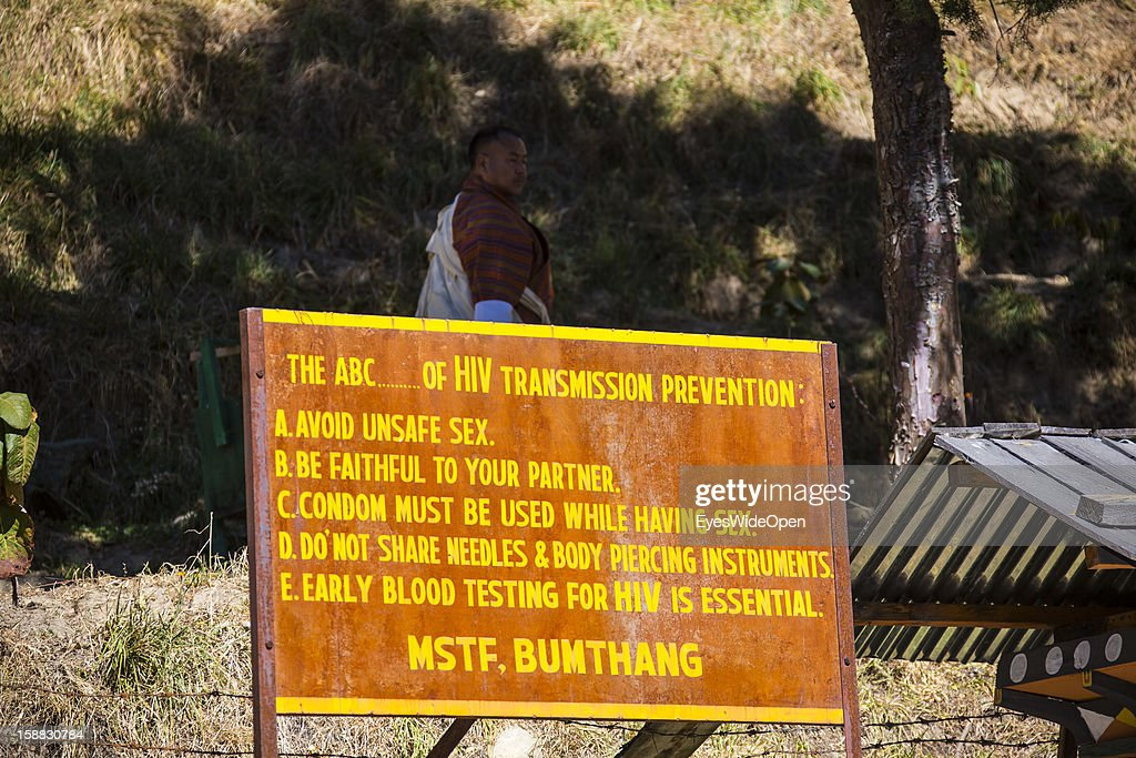 Sign for AIDS prevention at the Temple of Kurjey Lhakhang near Jakar on November 18, 2012 in Bumthang, Bhutan.