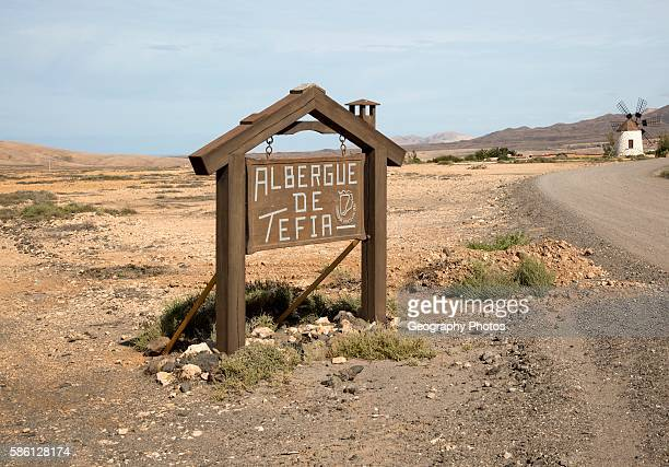 Sign for Albergue de Tefia Fuerteventura Canary Islands Spain