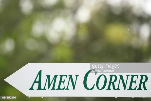 A sign for Amen Corner is displayed during a practice round prior to the start of the 2017 Masters Tournament at Augusta National Golf Club on April...