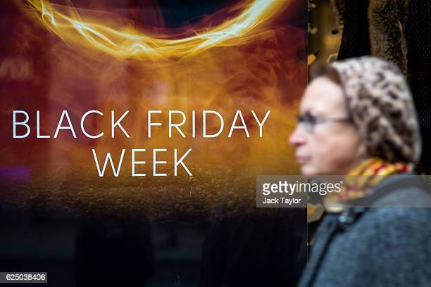 A sign for Black Friday deals is displayed in a shop window on Oxford Street on November 22 2016 in London England British retailers have begun to...