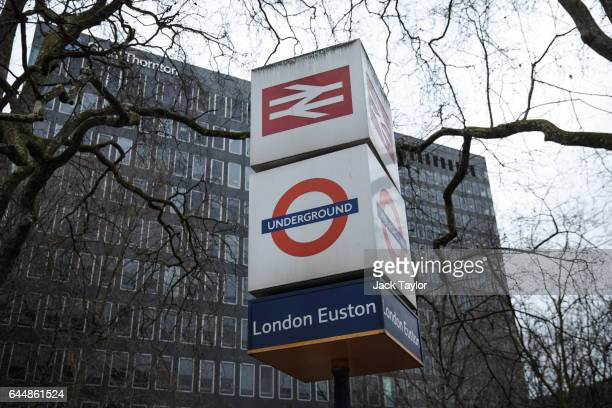 A sign for Euston Station the proposed terminus for HS2 is pictured on February 21 2017 in London England The HS2 Hybrid Bill which allows building...