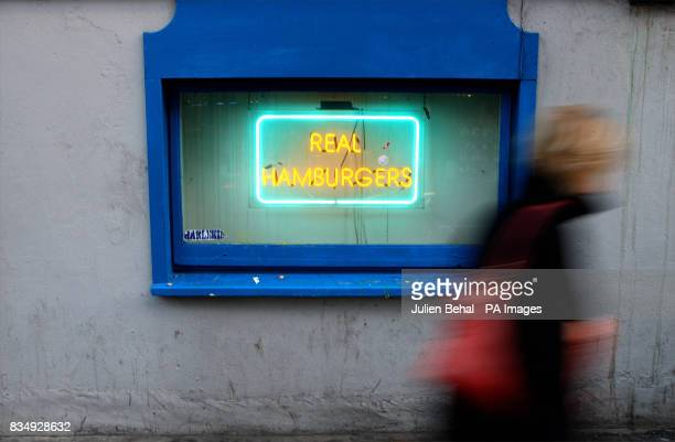 A sign for Hamburgers outside a fast food shop in Dublin today after The Department of Agriculture confirmed it was safe to eat beef from cattle in...