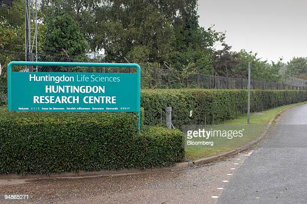 A sign for Huntingdon Life Sciences stands outside the facility in Huntingdon UK on Friday Aug 8 2008 UK Police say improved coordination between...