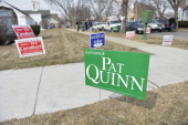 A sign for Illinois Governor Pat Quinn is posted outside of a polling place on the day of the state's primary election on March 18 2014 in Chicago...