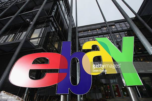 A sign for Internet auction portal eBay stands outside the eBay Germany headquarters on December 17 2009 in Kleinmachnow Germany The German service...