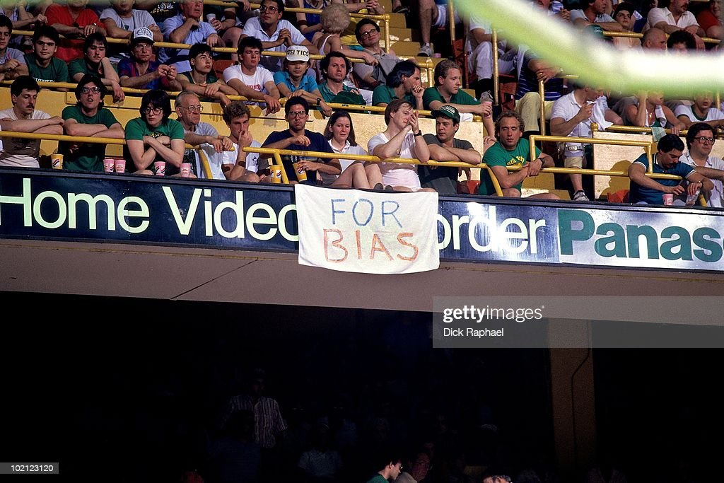A sign for Len Bias hangs during a game played in 1987 at the Boston Garden in Boston, Massachusetts.