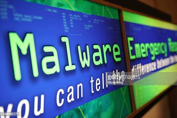 A sign for Malware is displayed during the Black Hat USA 2012 conference at Caesar's Palace resort and casino in Las Vegas Nevada US on Wednesday...
