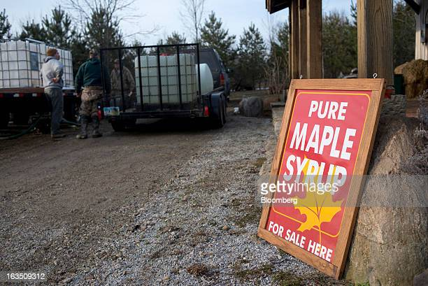 A sign for maple syrup is displayed outside the sugar shack at Grossman Brothers Maple Products in Claridon Ohio on Saturday March 9 2013 Grade A...
