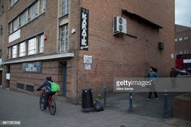 Sign for martial arts karate classes in Digbeth Birmingham England United Kingdom Digbeth is an area of Central Birmingham England Following the...