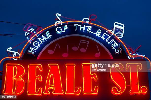 Sign for Memphis Music venue in legendary Beale Street entertainment district famous for Rock and Roll and Blues