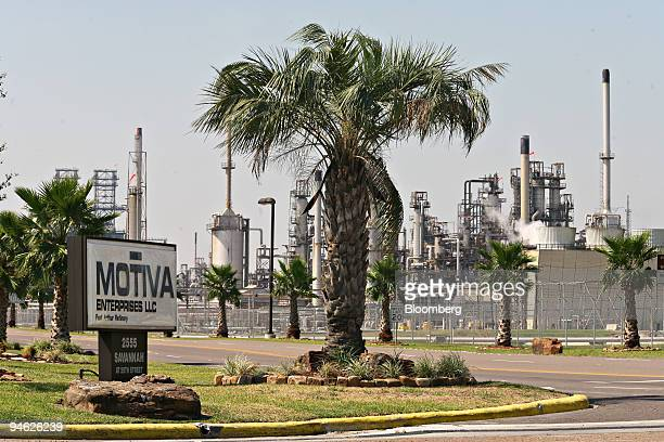 A sign for Motiva Enterprises stands outside the Motiva refinery in Port Arthur Texas US Friday September 21 2007 Royal Dutch Shell Plc and Saudi...