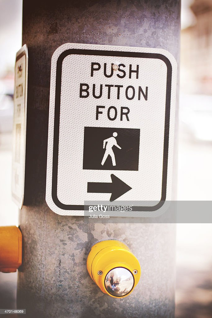 Sign for pedestrian stop light : Stock Photo