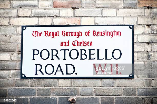 Sign for Portobello Road on an old brick wall